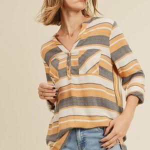 Doe & Rae Tops - Striped shirt with Pockets size Large